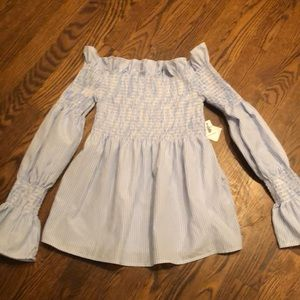 NEW Charlotte Russe striped smocked top sz xs